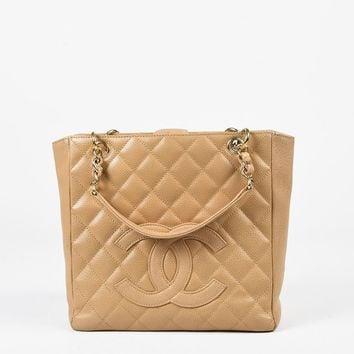 "Chanel Tan Quilted Caviar Leather ""PST"" Chain Link Shoulder Bag"