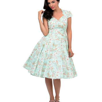 Hell Bunny 1950s Style Green & Taupe Floral Camellia Swing Dress