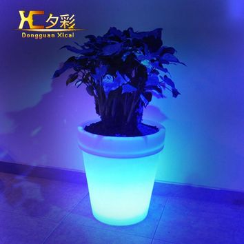 Big Plastic LED Flower Pots Garden Decoration