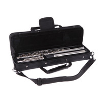 Western Concert Flute Silver Plated 16 Holes C Key Cupronickel Woodwind Instrument with Cork Grease Cleaning Cloth Stick Gloves Mini Screwdriver Padded Bag