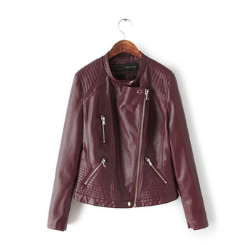 Wine Red Lapel Quilted Zipper Biker Jacket