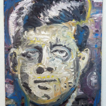 JFK John F Kennedy Oil on Canvas 16x20 Modern Pop Art Painting Canvas Painting Mid Century Art Atomic Political Art