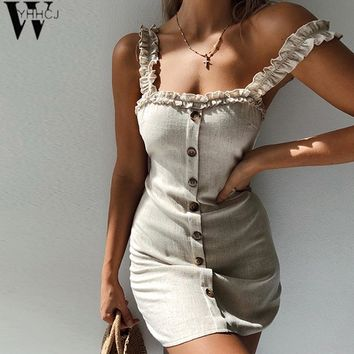 WYHHCJ Sexy backless Ruffles Spring/Summer Women Dresses Mini Sheath Strapless Dress Buttons Solid Casual Dresses
