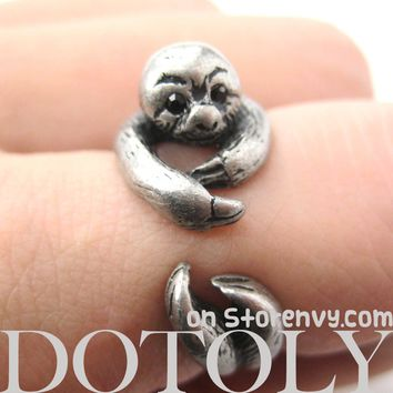 Sloth Animal Wrap Around Hug Ring in Silver - Size 4 to 9 Available