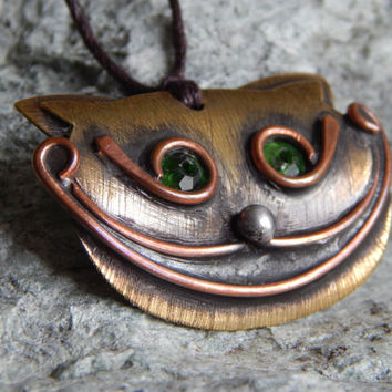 Cheshire cat Handmade cat pendant Alise in Wonderland Smiling cat Copper pendant Magic cat Animal form pendant Stained glass For her For him