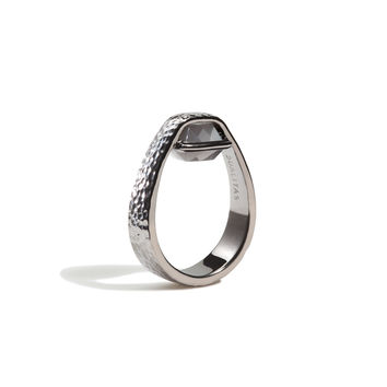 Intuition - 3 Ct Cushion Gray Moonstone Hammered Gunmetal Ring