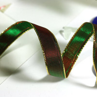 Green and Red Christmas Ribbon: Textured Wire Edged Ribbon in Red and Green with gold edging - 3 yards - 1/2 inch wide