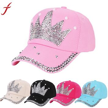Rhinestone Crown Snapback Hat