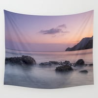 Purple sea. Half Moon beach. Wall Tapestry by Guido Montañés