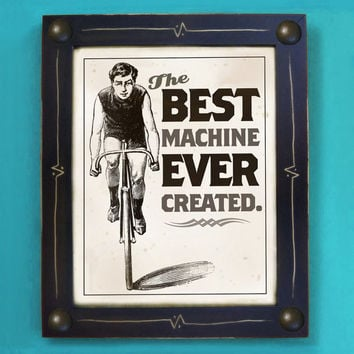 Bicycle Art Print Best Machine Ever Created Black and by DexMex