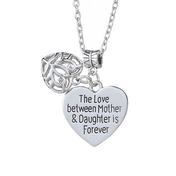 """Hot Sale Gift for Mom girl friend You are My World Heart """"the love between mother and daughter is foever""""necklace"""