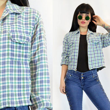 vintage 90s grunge plaid flannel pastel grunge blue teal chambray cotton 1990s Seattle grunge Metal Zip up cropped plaid cyber grunge small