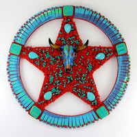 Turquoise Wall Decor, Star Mosaic, Home décor, Red and Turquoise, Unique Wall Art, Texas Wall Art, Turquoise, Gifts for Men