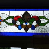 Exquisite 6' Stained Glass Jewel Encrusted Transom Window Panel