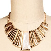 Gold/White Metal Bar Statement Necklace