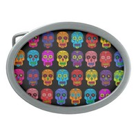 Customizable Sugar Skulls Oval Belt Buckles