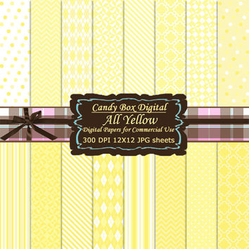 Yellow Paper, Yellow Digital Paper, Yellow Digital Scrapbook Paper, Yellow Digital Scrapbooking Paper, Yellow Scrapbook - Commercial Use OK