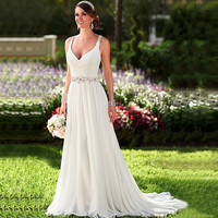 2016 New In Stock Wedding Dresses V-neck Sleeveless Long Vestido De Novia Pleat Applique Beaded Chiffon Bridal Gown Casamento