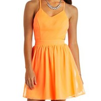 Neon Strappy Backless Chiffon Dress by Charlotte Russe - Neon Orange