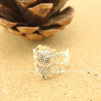 Silver harry potter Owl adjustable ring Steampunk antique jewelry