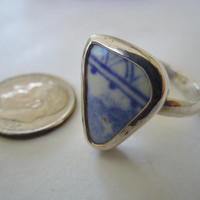 Broken China Ring Chaney Ring  Sterling Silver Ring  Blue Ring  Any Size SALE 100% Handcrafted