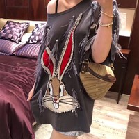 """Gucci"" Women Casual Fashion Feather Diamond Cartoon Rabbit Embroidery Short Sleeve T-shirt Top Tee"