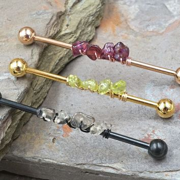 Garnet, Peridot or Smokey Quartz Industrial Barbell
