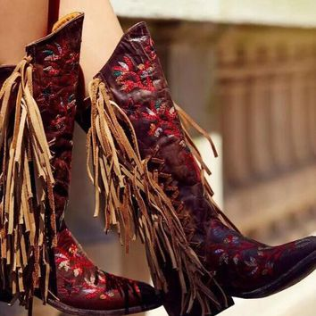 Red Embroidery Flowers Fringe Boots Dark Brown Leather Point Toe Cowboy Boots Knee High Boots