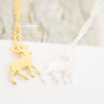 Stag necklace,Deer Necklace,Cute Necklace,Animal Necklace,bambi necklace,bridesmaid gift,teens necklace,cute necklace,minimalist,SNK271