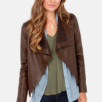 BB Dakota Jasper Brown Vegan Leather Jacket