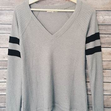 Tatum Double Stripe V Neck Top (Grey)