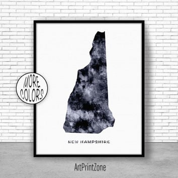 New Hampshire Art New Hampshire Decor New Hampshire Print New Hampshire Map Art Print Map Print Watercolor Map Office Art Print ArtPrintZone
