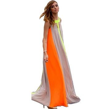 2017 New Summer Long Dress Women Chiffon Stitching Halter O Neck Sleeveless Vertical Striped Beach Bohemian Floor Length Dresses