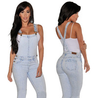 Women Light Color Denim Suspender Trousers Jumpsuit Slim Bodysuit Jean Pants Overall = 5617124545