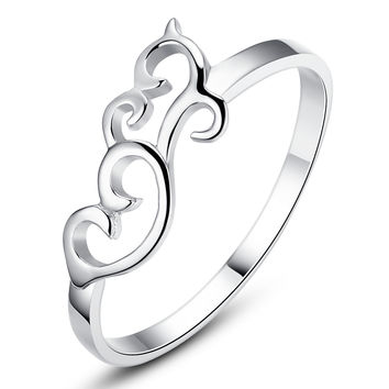 Sterling Silver Filigree Heart Lightweight Girls Ring