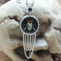 Psychobilly Skull Bottle Cap Pendant with Chains - Rockabilly, Mohawk, Rocker, Upright Bass, Goth, Retro, Chain
