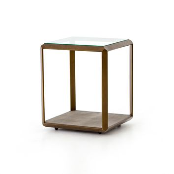 BLOSSOM  SHADOW BOX END TABLE- ANTIQUE BRASS
