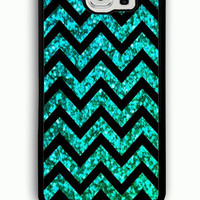 Samsung Galaxy S6 Case - Rubber (TPU) Cover with Mint Glitter and Chevron Pattern Rubber case Design