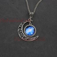 Moon Necklace, Crescent Moon Pendant Necklace, Nebula, Galaxy Space, Galactic Cosmic Moon, Dream Discover, Friendship, Graduation Gift