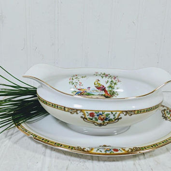 Noritake Morimura Chelsea Pattern Gravy Boat with Attached Underplate Hand Painted Art Deco Fine China with Colorful Peacock Pair Gold Trim