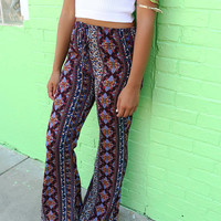 Festival Standout Maroon & Navy Exotic Print Drawstring Wide Leg Pants