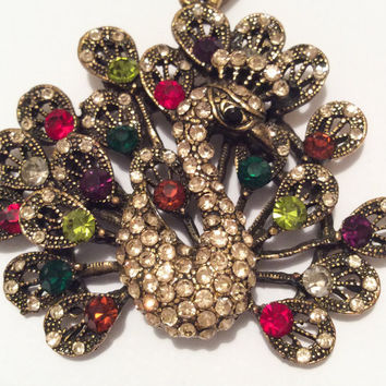 Peacock Rhinestone Pendant Figural Red Green Glass Vintage Jewelry
