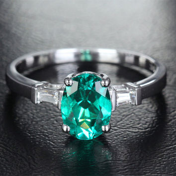 6x8mm Lab Emerald Engagement ring White gold,Baguette VS Diamond wedding band,14k,Oval Cut Treated Emerald,Green Gemstone Promise Ring