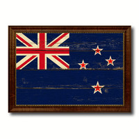 New Zealand Country Flag Vintage Canvas Print with Brown Picture Frame Home Decor Gifts Wall Art Decoration Artwork