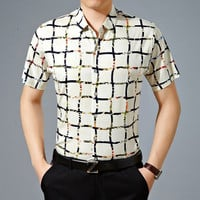 Summer Stylish Plaid Cotton Shirt Men Short Sleeve Blouse [6544354435]
