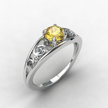 imperial topaz engagement ring, filigree ring, white gold, yellow gold, solitaire, unique,golden yellow topaz, wedding