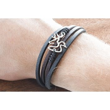 Buck and Duck Leather Strand Wrap Bracelet, Hunting Bracelet By Namecoins