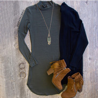 Fit Within Ribbed Dress - Olive