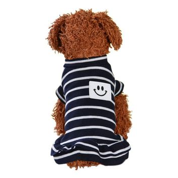 Sports dress spring-summer dog clothes striped vest skirt Cat Clothes Puppy Costumes costume Pet Costumes