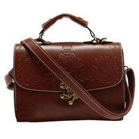 OASAP - Vintage Flower Embossed Shoulder Bag with Hook and Eye Fastening - Street Fashion Store